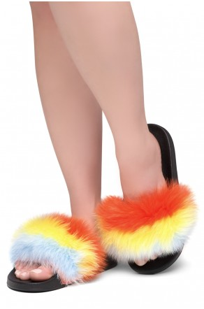 Shoe Land NIKINI Womens Fur Slides Fuzzy Slippers Fashion Fluffy Comfort Flat Sandals(MULT/BLK)