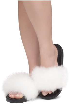 Shoe Land NIKINI Womens Fur Slides Fuzzy Slippers Fashion Fluffy Comfort Flat Sandals(WHT/BLK)