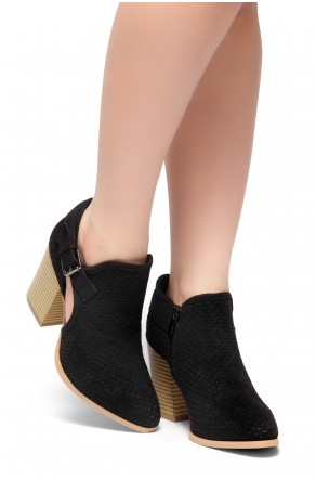 HerStyle NOMAD-Stacked Heel Almond Toe Booties (Black)