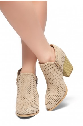 HerStyle NOMAD-Stacked Heel Almond Toe Booties (Blush)
