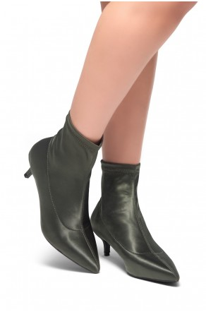HerStyle Norell-Kitten Heel Ankle Sock Boot  (Olive)