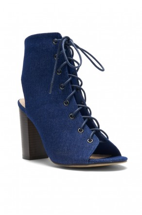 HerStyle Norrii Lace up Cutout Booties (Navy Denim)