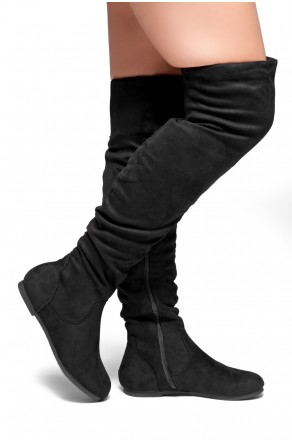 HerStyle Odessa Women's Fashion-Hi Over-the-Knee Thigh High Flat Slouchy Shaft Low Heel Boots (Black)
