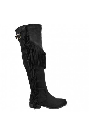 Women's Black Oksana Knee-High Boot with Fringed Sides
