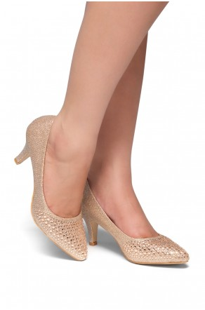 HerStyle Olivarra-Kitten heel, jeweled embellishments(Rose Gold)