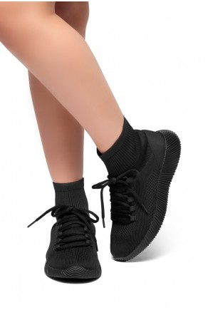 HerStyle Onefour-Knit Fitted Sock Sneakers(Black)