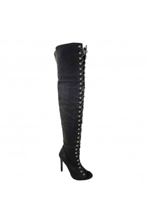 Women's Black Onelove 4-inch Tall Boot with Sexy Peep-Toe