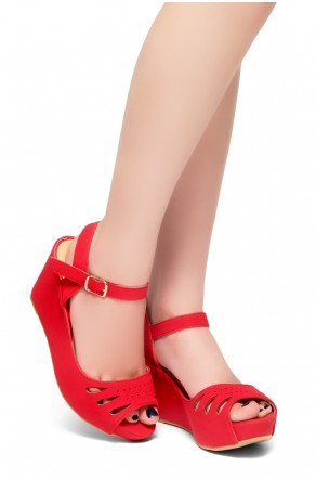 HerStyle Only Choice-Peep Toe Ankle Strap Open Back Wedge Sandals (Red)