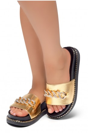 HerStyle ORA-Open Toe Slide Sandal with Rhinestone Metallic Chain Accent (Gold)
