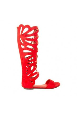 Women's Red Manmade Paggiee Mid-Calf Gladiator Sandal with Floral Cut-out Design