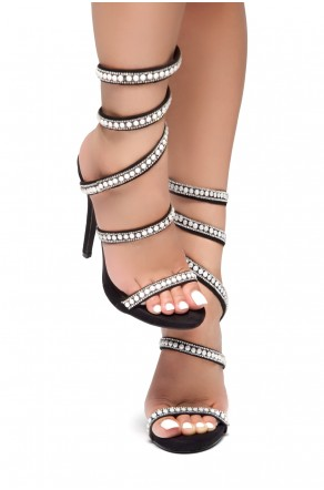 HerStyle PEARL PERFECTION-Pearl embellished spiral heeled sandals(Black)
