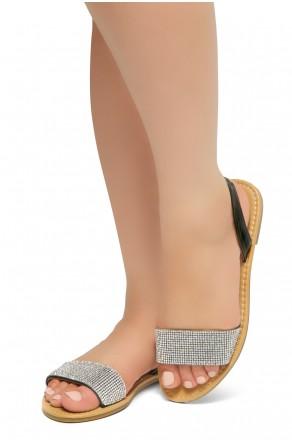HerStyle Women's Manmade Pretty Nice Slip-On Rhinestone Vamp Sandals (Black)