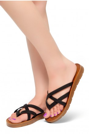 HerStyle Radiate- Unique Crisscross Straps Slide Sandals (Black)
