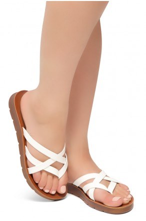 HerStyle Radiate- Unique Crisscross Straps Slide Sandals (White)