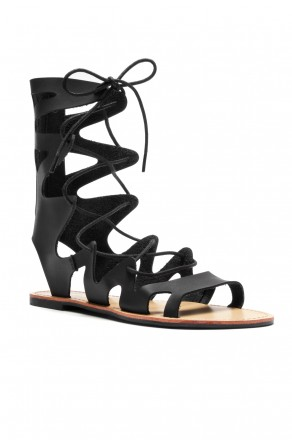 HerStyle Raelee Lace Up Gladiator Flat Sandal (Black)