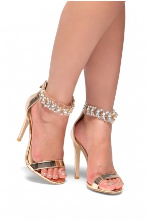 HerStyle Rocha Stiletto heel, jewel embellishments (Rose Gold)