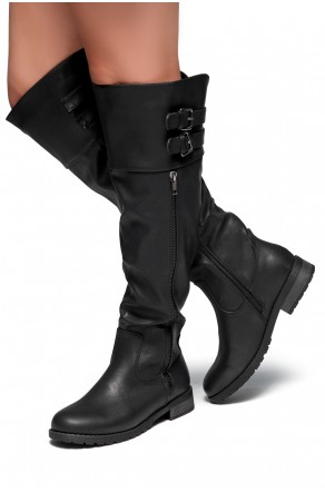 Women's Black Rolleen Women's Zipper, Double Buckles Accent, Lug sole, stacked heel, Round toe, Riding Thigh High over the Knee Boots