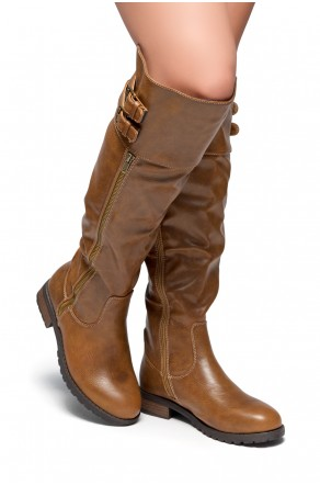 Women's Tan Rolleen Women's Zipper, Double Buckles Accent, Lug sole, stacked heel, Round toe, Riding Thigh High over the Knee Boots