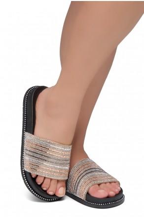 Shoe Land Ronny-Women's Fashion Rhinestone Slide Slip On Summer Sandals (RosegoldMulti)