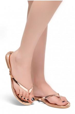 HerStyle Rosalyn-Rhinestone Details Open Toe Thong Slide Sandal (RoseGold)