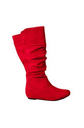 Women's Red Wide Calf Faux Suede Slouchy Hidden Wedge Boot ROSEMARRY