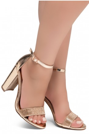 Shoe Land Rosemmina Open Toe Ankle Strap Chunky Heel (1896RoseGold)