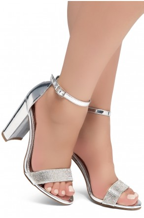 Shoe Land Rosemmina Open Toe Ankle Strap Chunky Heel (1896Silver)