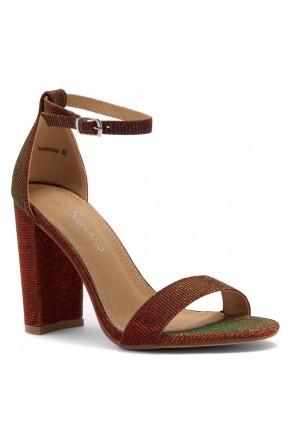 HerStyle Rosemmina Open Toe Ankle Strap Chunky Heel (1901 Burgundy)