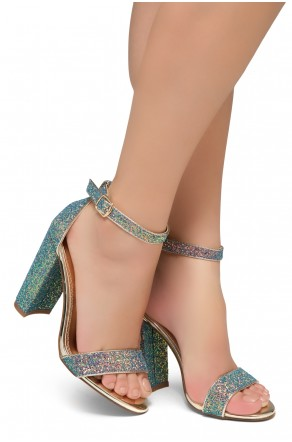 Shoe Land Rosemmina Open Toe Ankle Strap Chunky Heel (GreenMultiGlitter)