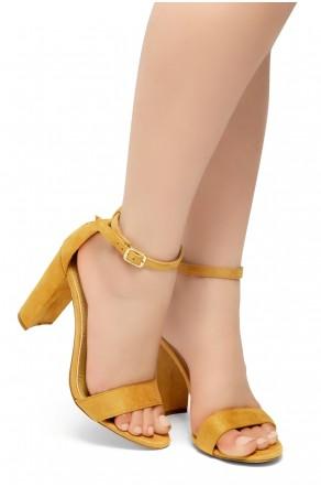 HerStyle Rosemmina Open Toe Ankle Strap Chunky Heel (Mustard)