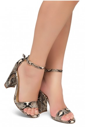 Shoe Land Rosemmina Open Toe Ankle Strap Chunky Heel (NAT/SNK)