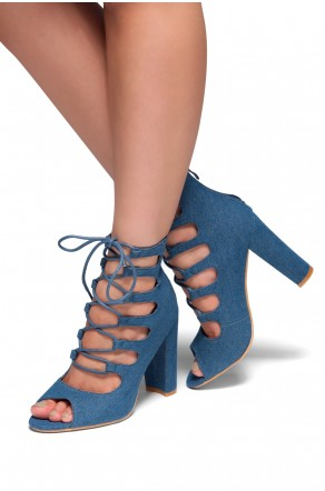 HerStyle Rosette-Peep toe, Chunky heel, Front lace-up (Blue DM)