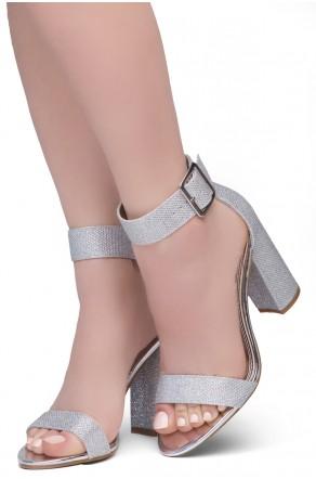 Shoe Land SL-GRACE Women's Open Toe Ankle Strap Chunky Platform Dress Heel Sandal(2020SilverSilver)