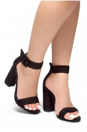HerStyle Rumors-Glitter, Chunky heel, ankle strap (Black)