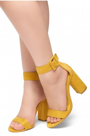 HerStyle Rumors-Chunky heel, ankle strap (Mustard)
