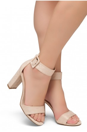 HerStyle Rumors-Chunky heel, ankle strap (Nude)