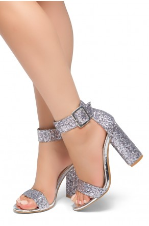 HerStyle Rumors-Glitter, Chunky heel, ankle strap (Silver Glitter)
