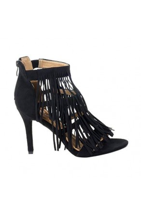 Women's Black Manmade Sandalia 4-inch Heeled Sandal with Frisky Fringed Vamp