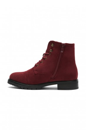 Women's Burgundy Sayddy Combat Riding Lug Ankle Boots.