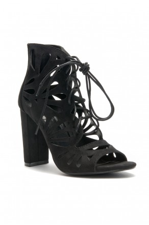 HerStyle Sbbicca Laser Cut Heeled Booties (Black)