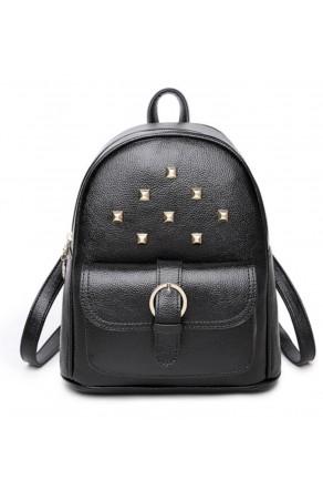 SE3-BP083- Women's Trendy Mini Studded Backpack Purse (Black)