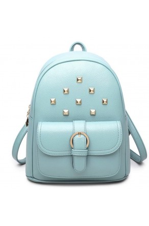 SE3-BP083- Women's Trendy Mini Studded Backpack Purse (Blue)