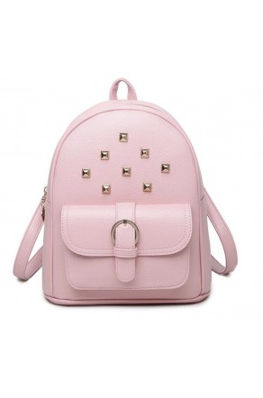 SE3-BP083- Women's Trendy Mini Studded Backpack Purse (Pink)