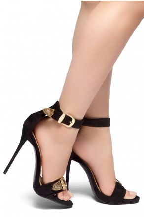 HerStyle SEPTEMBER-Metallic Accents, Ankle Strap, Open Toe, and stiletto Heel (Black)