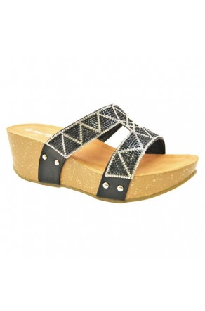 Women's Black Shaanne 3-inch Crystal Coated Wedge Sandal