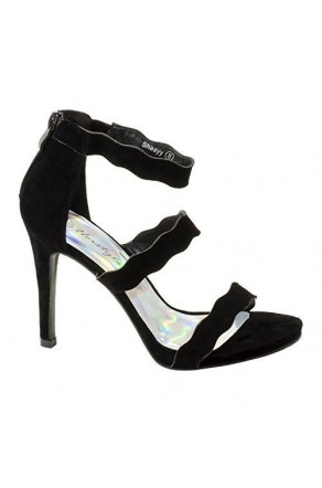 Women's Black Manmade Shaayy 4.5-inch Heeled Sandal with Curvy Vamp Strap