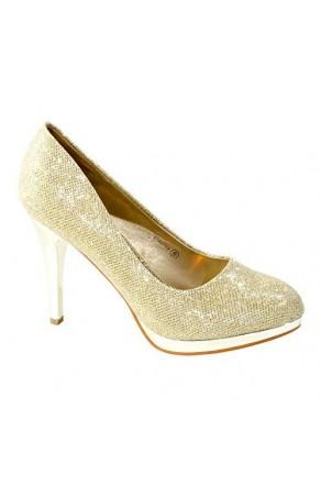 Women's Gold Manmade Shayllaa 4.5-inch Ornamented Pump Heel with Rhinestone Sheen