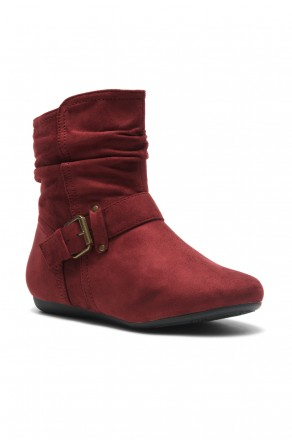 Women's Red Shearlly Faux Suede Buckled up booties