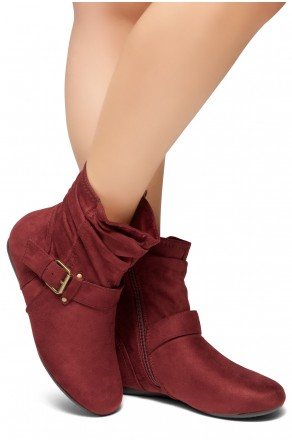 Women's Burgundy Shearlly Faux Suede Buckled up booties-- [Runs Small, Order One Size Bigger]