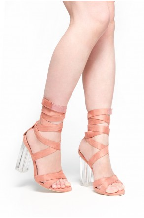 HerStyle Sheenna Perspex clear heel, Wraparound Ankle Tie Sandal  (Mauve)